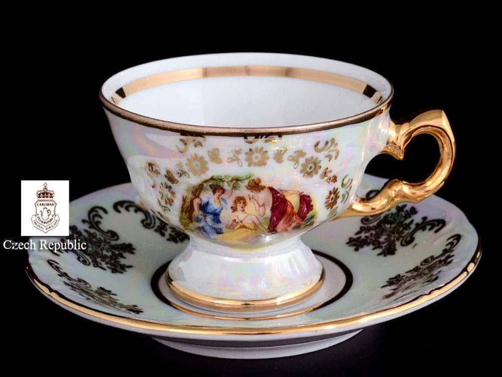 Мадонна Перламутр Набор чайных пар Royal Czech Porcelain на 6 персон 12 предметов