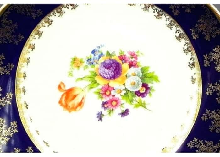 Блюдо овальное 32 см Мэри-Энн,Мелкие цветы,кобальт