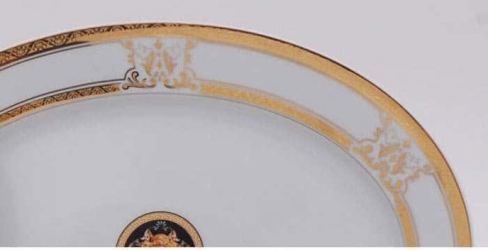 Блюдо овальное 22 см, Сабина, Версаче, Отводка золото