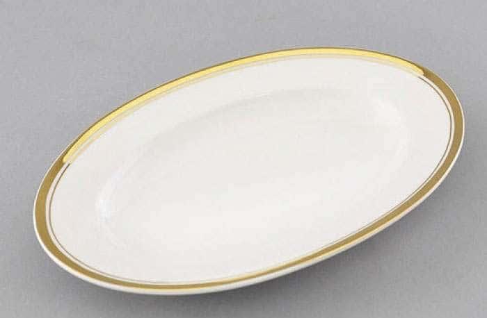 Сабина, Отводка золото блюдо овальное Леандер 22 см из фарфора