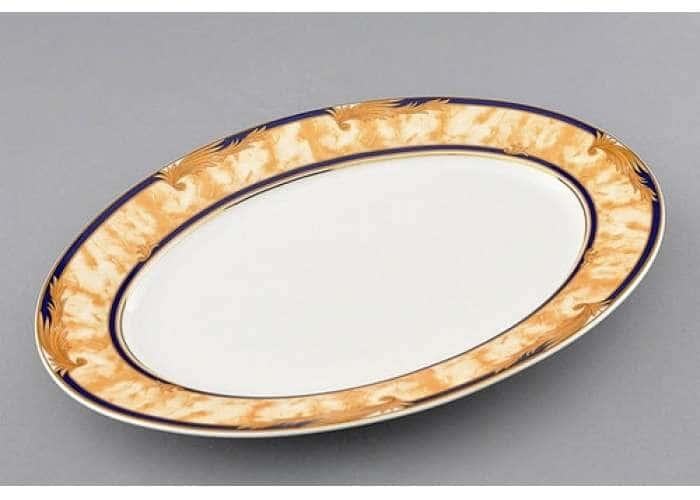 Блюдо овальное 32 см, Сабина, Мраморный орнамент