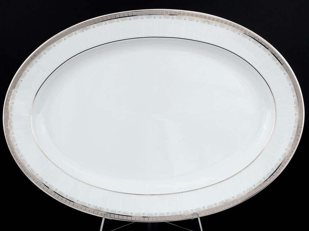 Опал Платиновая лента Блюдо овальное Thun 36 см