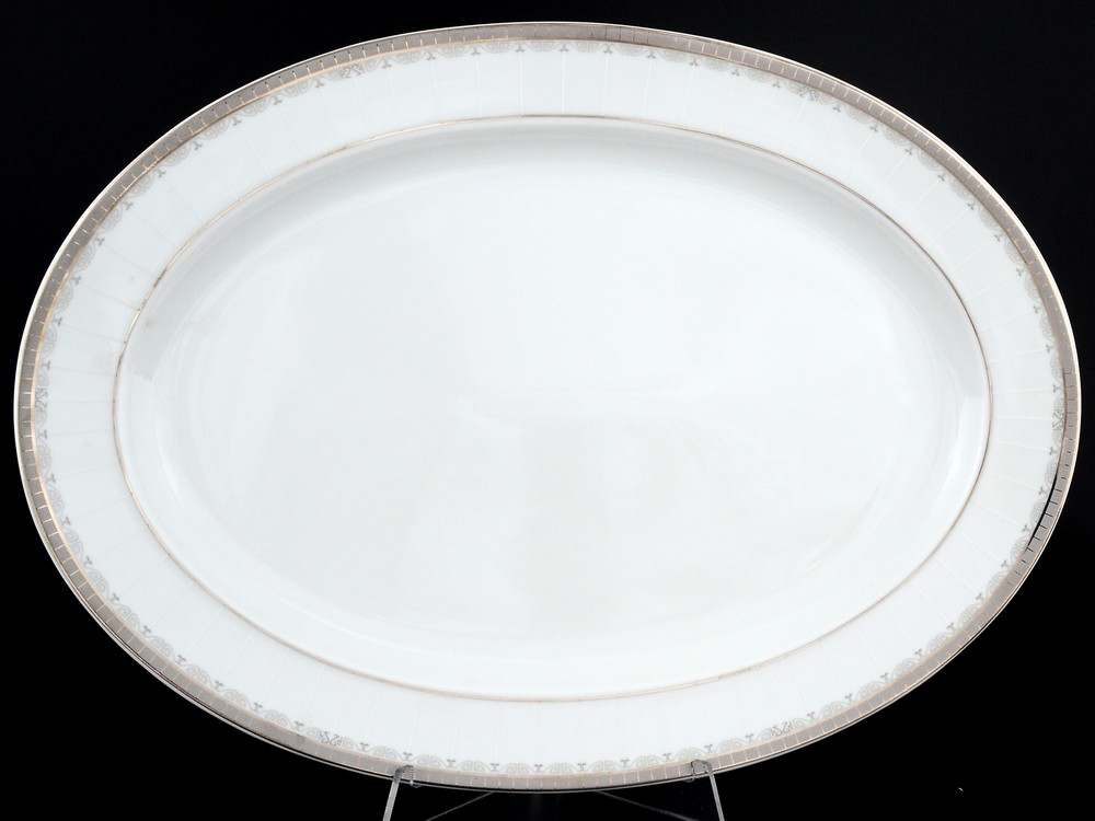 Опал Платиновая лента Блюдо овальное Thun 39 см