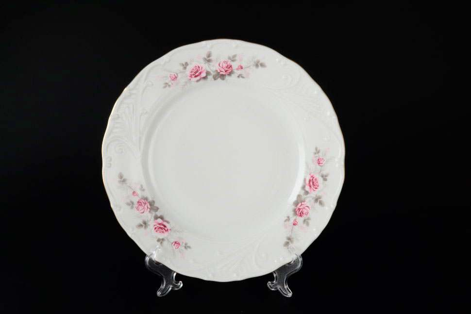Лиана Серая роза золото Набор тарелок MZ 19 см