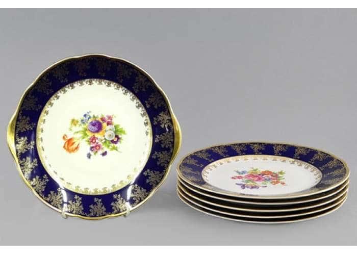 Сервиз для торта с дес. тарелкой 17 см, Мэри-Энн, Мелкие цветы, Кобальт