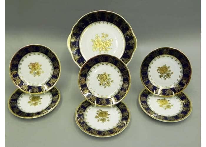 Сервиз для торта с дес. тарелкой 17 см, Мэри-Энн, Золотая роза, Кобальт