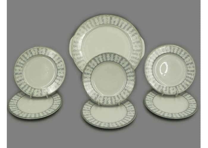 Набор тарелок для торта 17см  Сабина  Серый орнамент