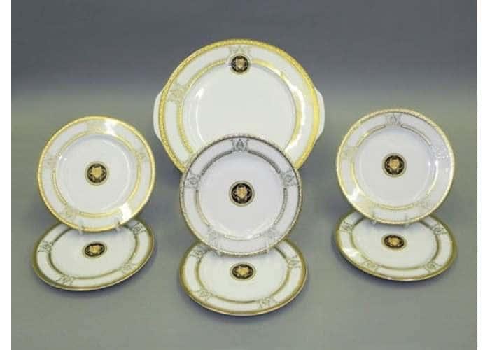 Набор тарелок для торта 17см  Сабина Версаче Золотая лента