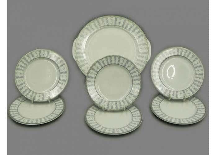 Набор тарелок для торта 19см  Сабина  Серый орнамент