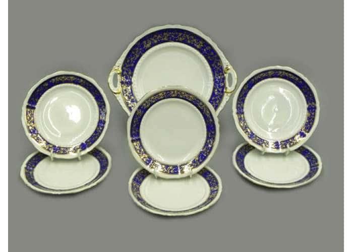 Сервиз для торта с десертной тарелкой 17 см, Соната, Синий орнамент с золотом