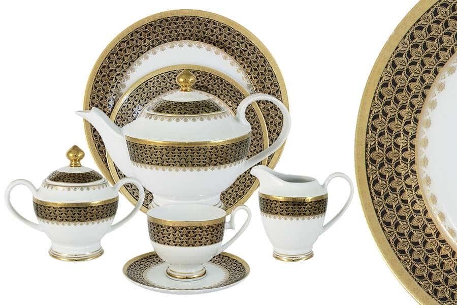 Чайный сервиз Чёрное золото 42 предмета на 12 персон Midori Китай
