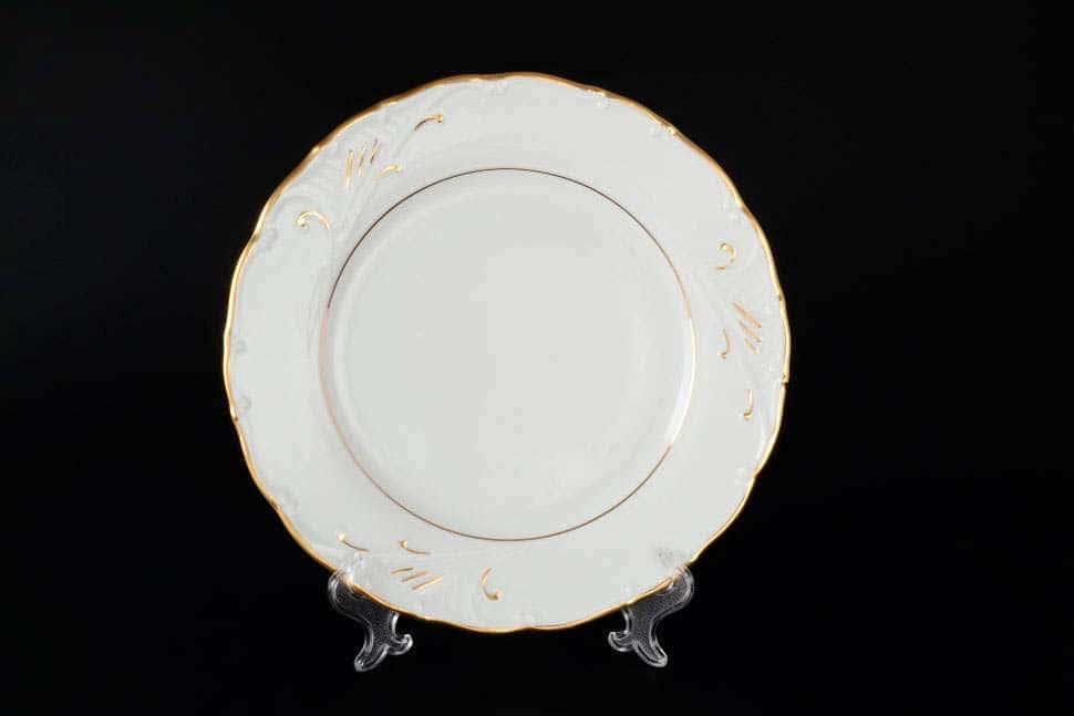 Лиана Золотой узор Набор фарфоровых тарелок MZ 25 см