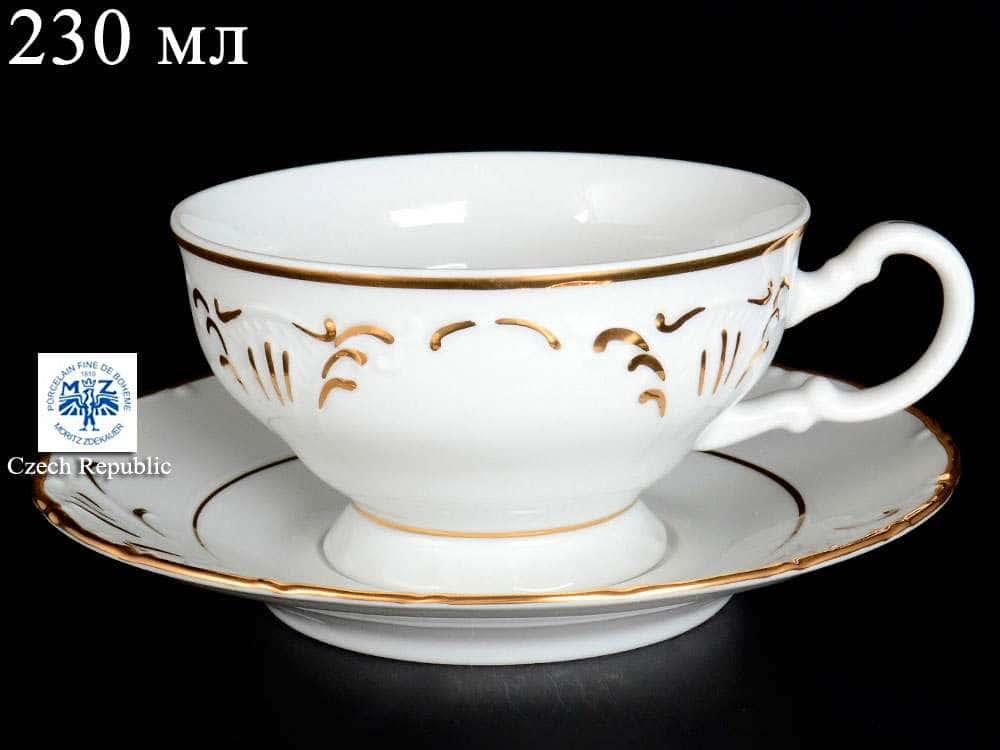 Лиана Золотой узор Чашка с блюдцем MZ 230 мл