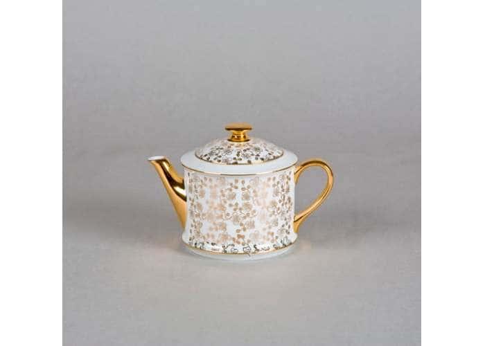 Чайник 0,40л Виндзор Золотые листья белый