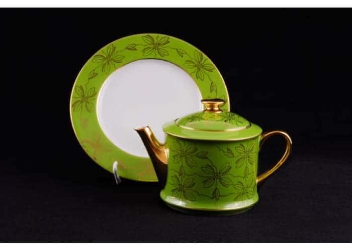 Чайник 0,40л Виндзор Золотые листья салатовый
