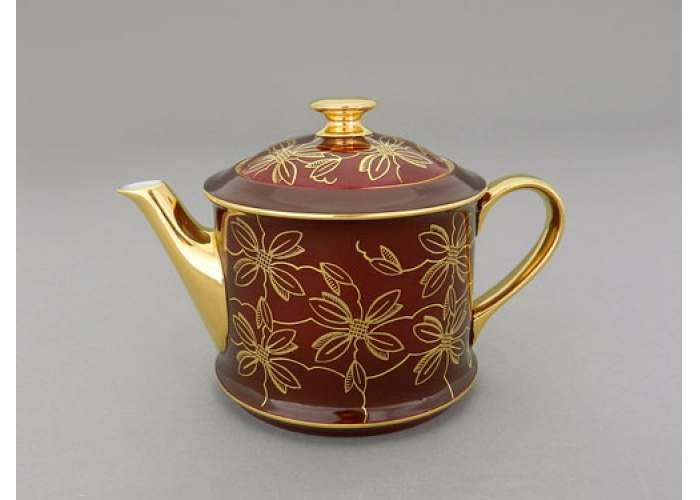 Чайник 0,40л Виндзор Золотые листья бордо