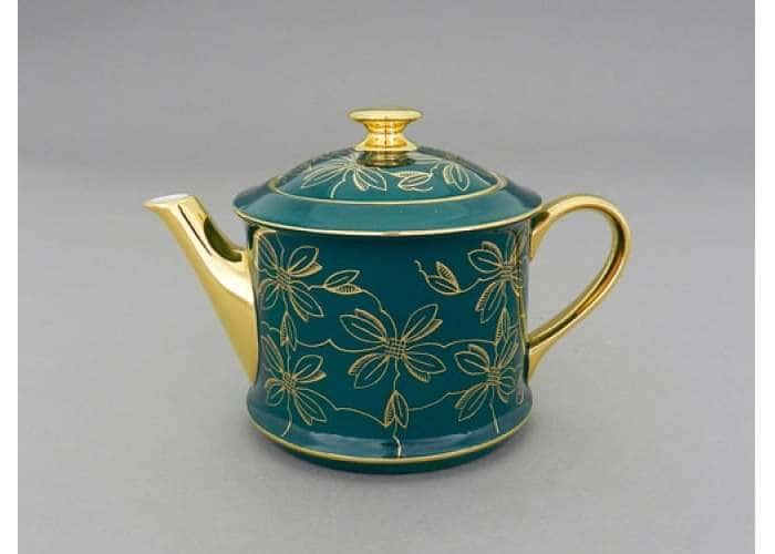 Чайник 0,40л Виндзор Золотые листья малахит