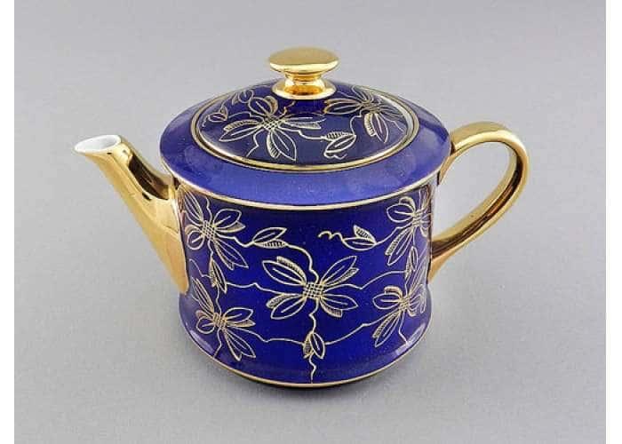 Чайник 0,40л Виндзор Золотые листья синий
