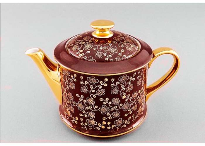 Чайник 0,40л Виндзор Золотые цветы бордо