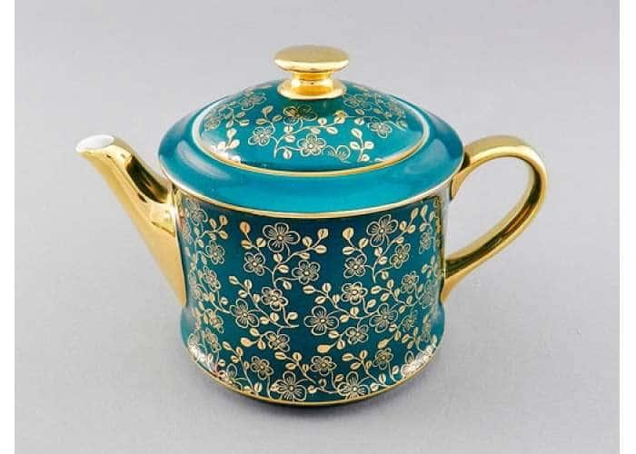 Чайник 0,40л Виндзор Золотые цветы малахит