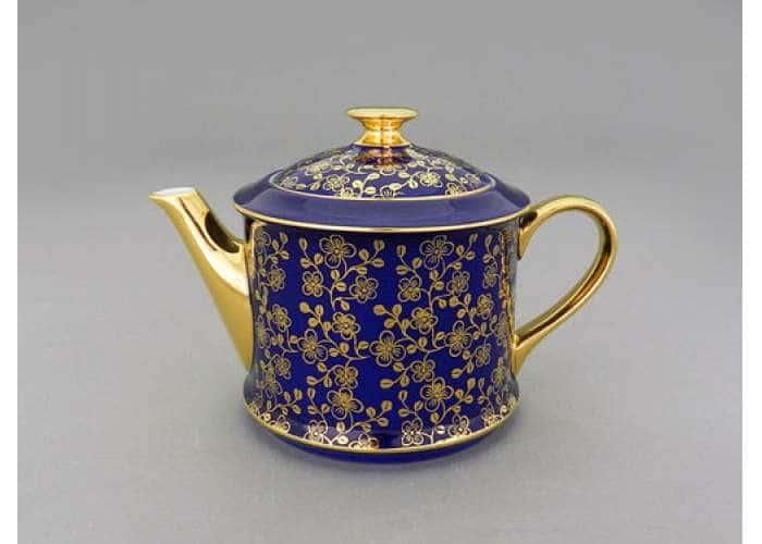 Чайник 0,40л Виндзор Золотые цветы кобальт