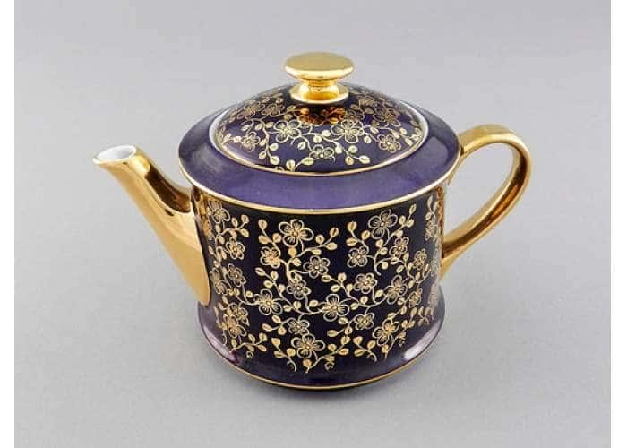 Чайник 0,40л Виндзор Золотые цветы фиолет