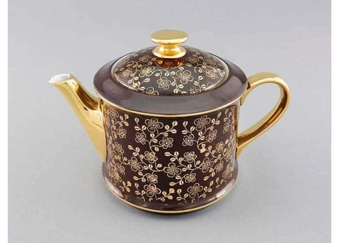 Чайник 0,40л Виндзор Золотые цветы шоколад
