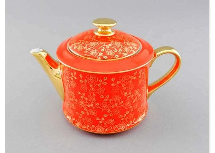 Чайник 0,40л Виндзор Золотые цветы оранжевый