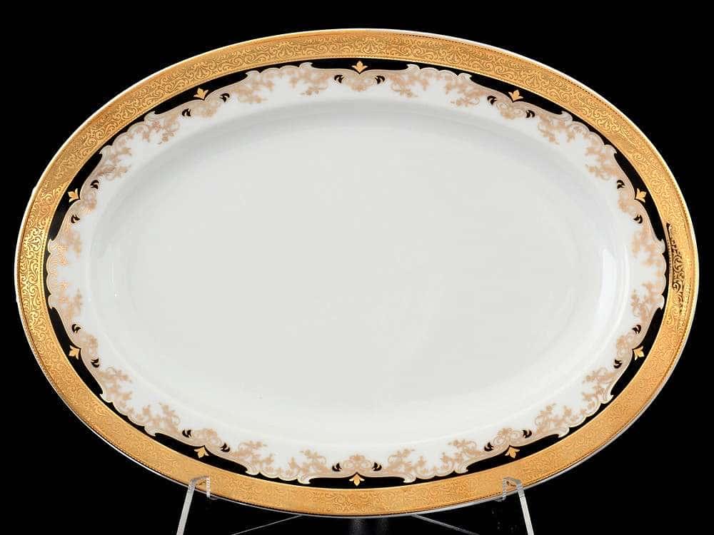 Кристина Черная Лилия Блюдо овальное фарфоровое Thun 24 см