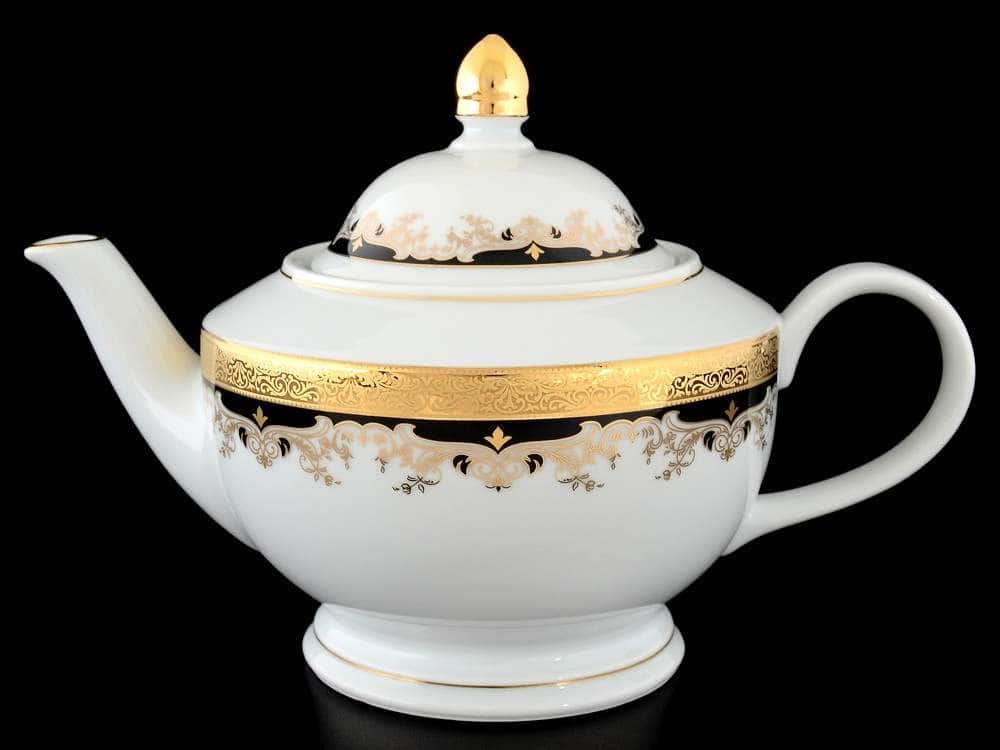 Кристина Черная Лилия Чайник фарфоровый Thun 1,2 л