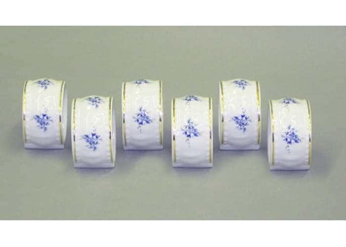Набор колец для салфеток 6 штук, Соната, Голубые цветы