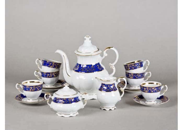 Сервиз кофейный мокко 15 пред, с чашкой 100 мл, Соната, Синий орнамент с золотом