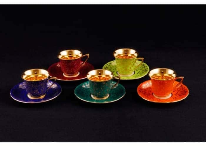 Набор чашек высоких 0,15л Виндзор Золотые цветы микс