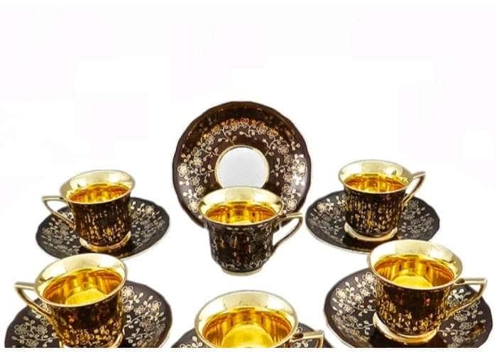 Набор чашек высоких 0,10л 6шт Виндзор Золотые цветы шоколад