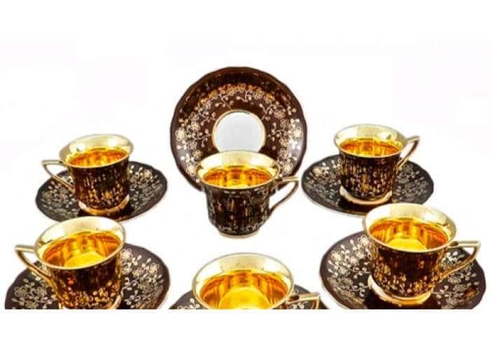 Набор кофейных чашек высоких 0,15л Виндзор Золотые цветы шоколад