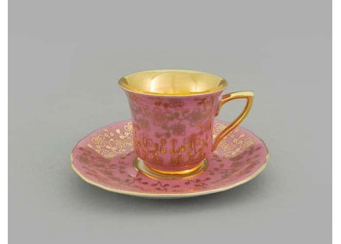 Чашка высокая 0,10л. Виндзор Золотые цветы, розовый