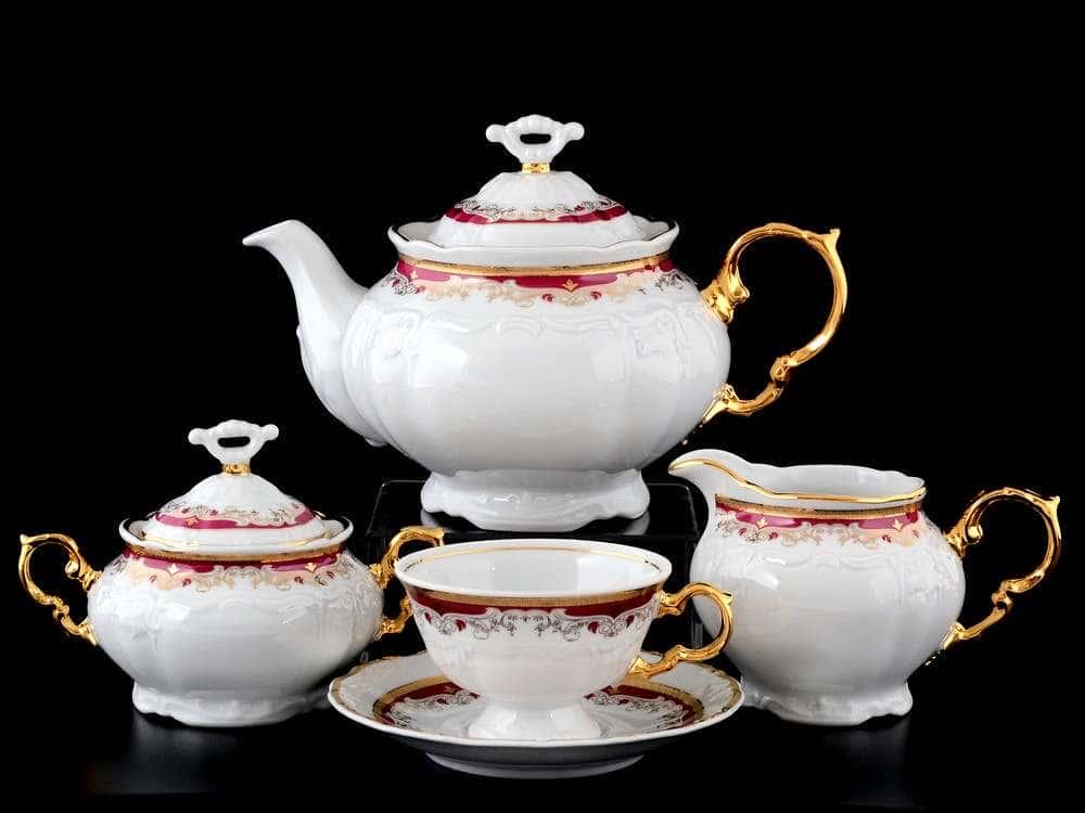 Мария Луиза Красная лилия Чайный сервиз Thun на 6 персон 17 предметов