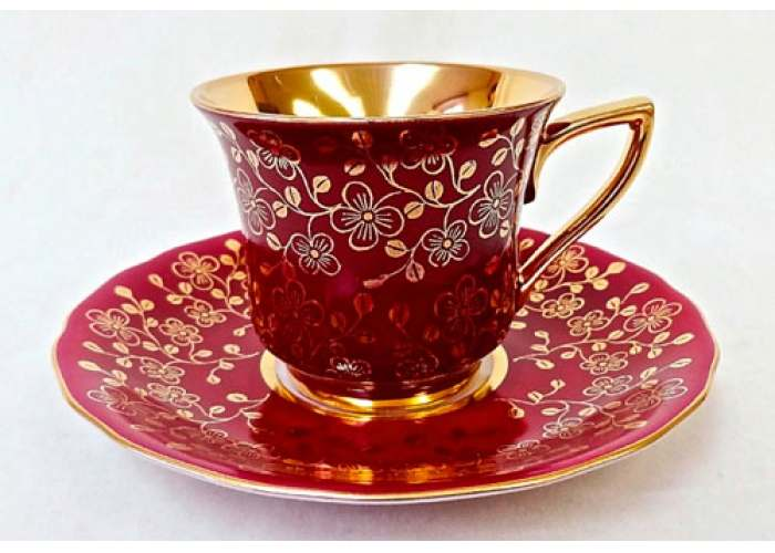 Чашка высокая 0,10л. Виндзор Золотые цветы бордовый 31349