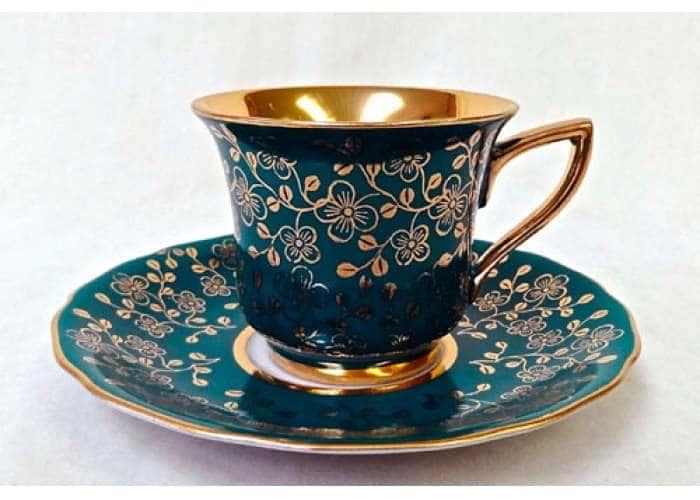 Чашка высокая 0,10л Виндзор  Золотые цветы,зеленый 31350