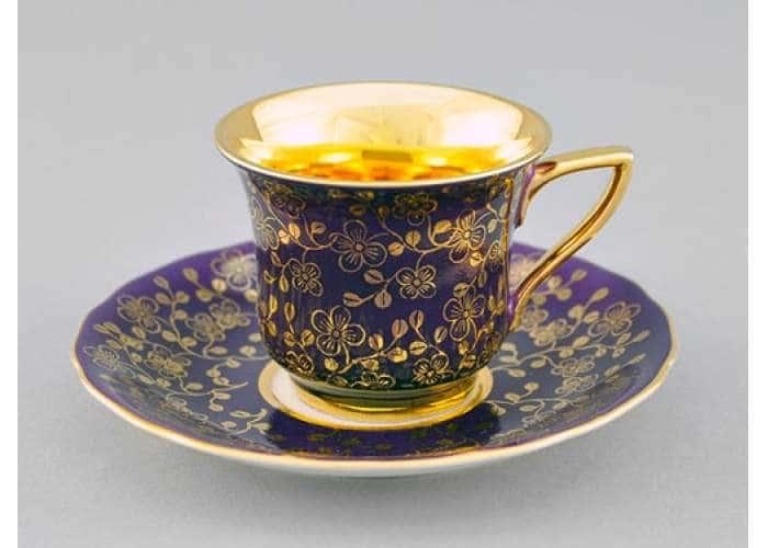 Чашка высокая 0,10л. Виндзор Золотые цветы фиолет