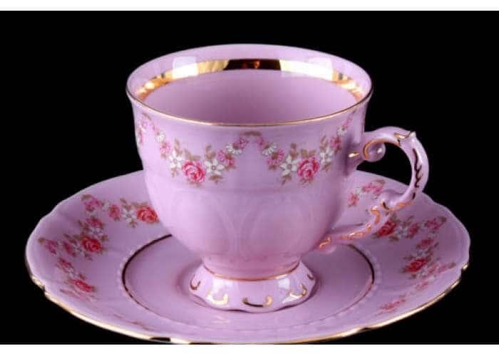 Чашка высокая с блюдцем 0,15 л, Соната, Мелкие цветы, Розовый фарфор