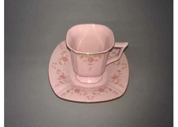 Чашка высокая с блюдцем 0,07 л, Соната, Мелкие цветы, Розовый фарфор