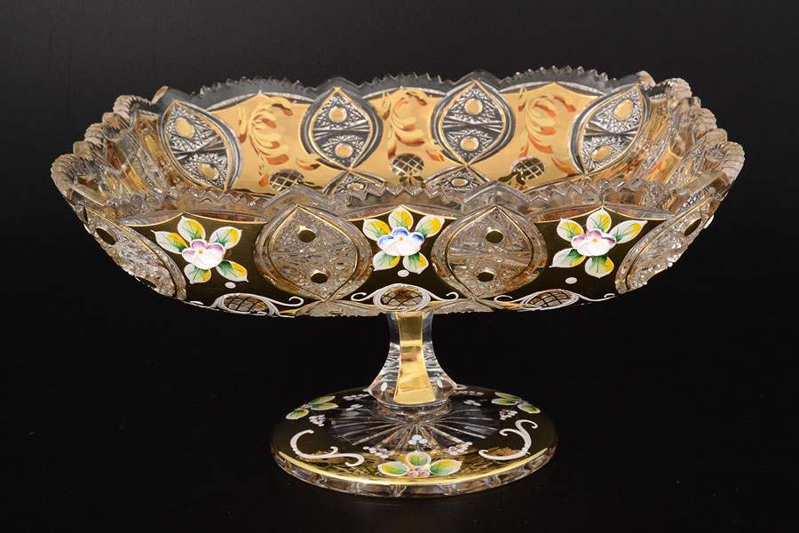 Фруктовница на ножке 30 см Jahami Золото