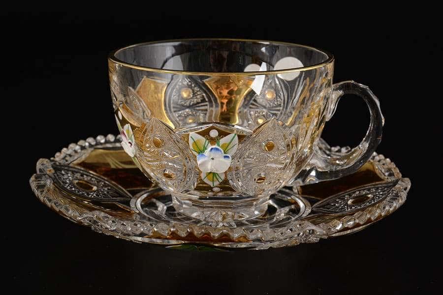 Jahami Золото Чайная пара из хрусталя чашка с блюдцем