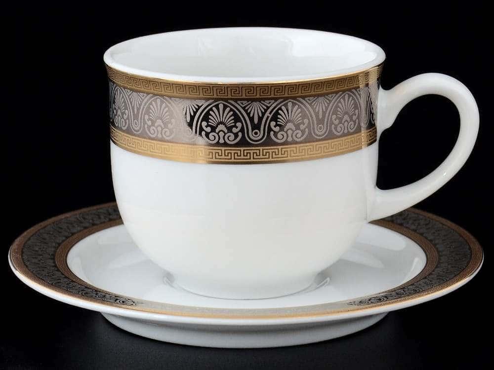 Набор кофейных пар 110 мл Опал Широкий кант платина золото