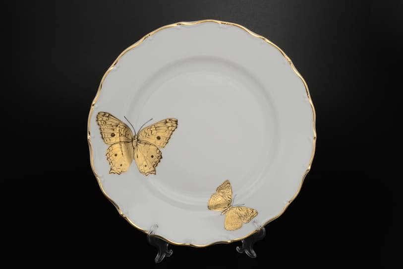 Блюдо круглое 30 см Магнолия Золотые бабочки