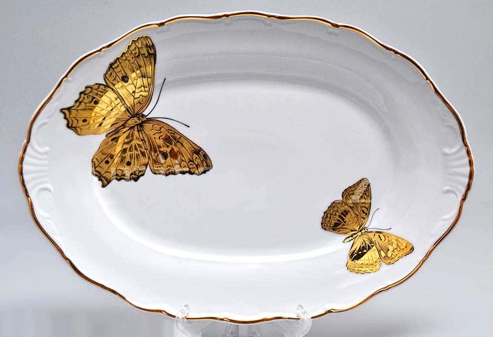 Блюдо овальное 32 см Магнолия Золотые бабочки