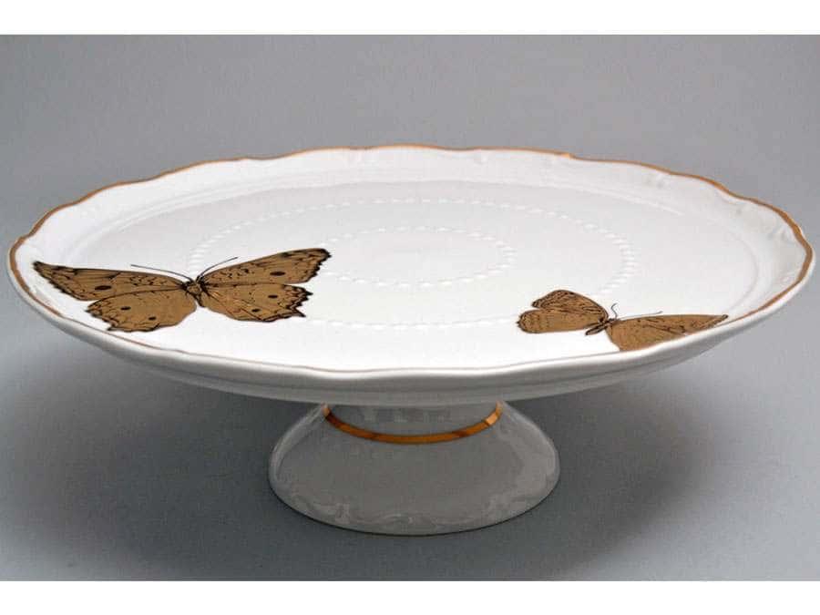 Магнолия Золотые бабочки Тарелка для торта на ножке MZ 30 см