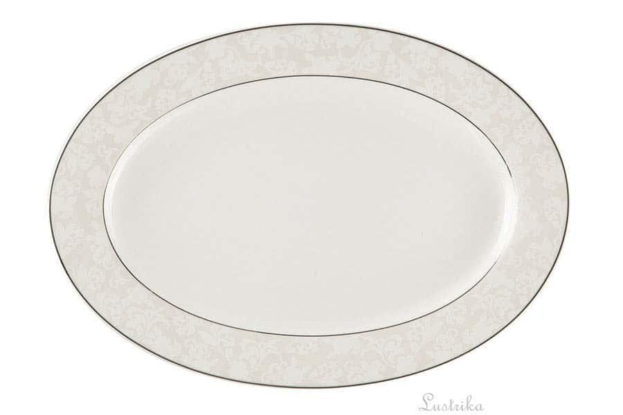 Овальное блюдо 31 см Пион белый