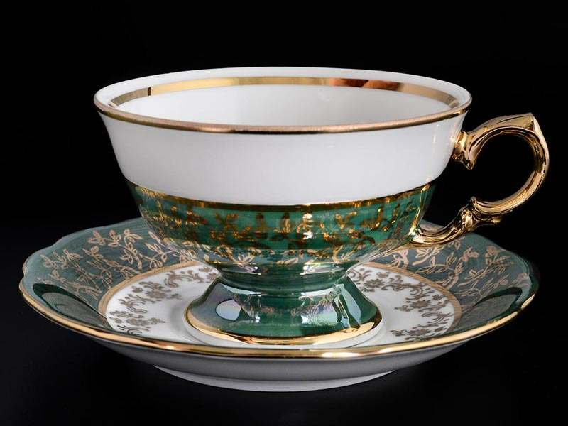 Зеленая Паутинка AL Набор чайных пар Royal Porcelain 220 мл